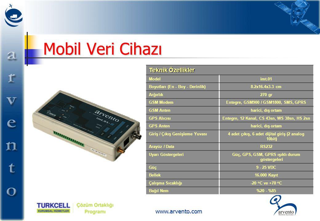 www.arvento.com Mobil Veri Cihazı Teknik Özellikler Modelimt.01 Boyutları (En - Boy - Derinlik)8.2x16.4x3.3 cm Arğırlık270 gr GSM ModemEntegre, GSM900
