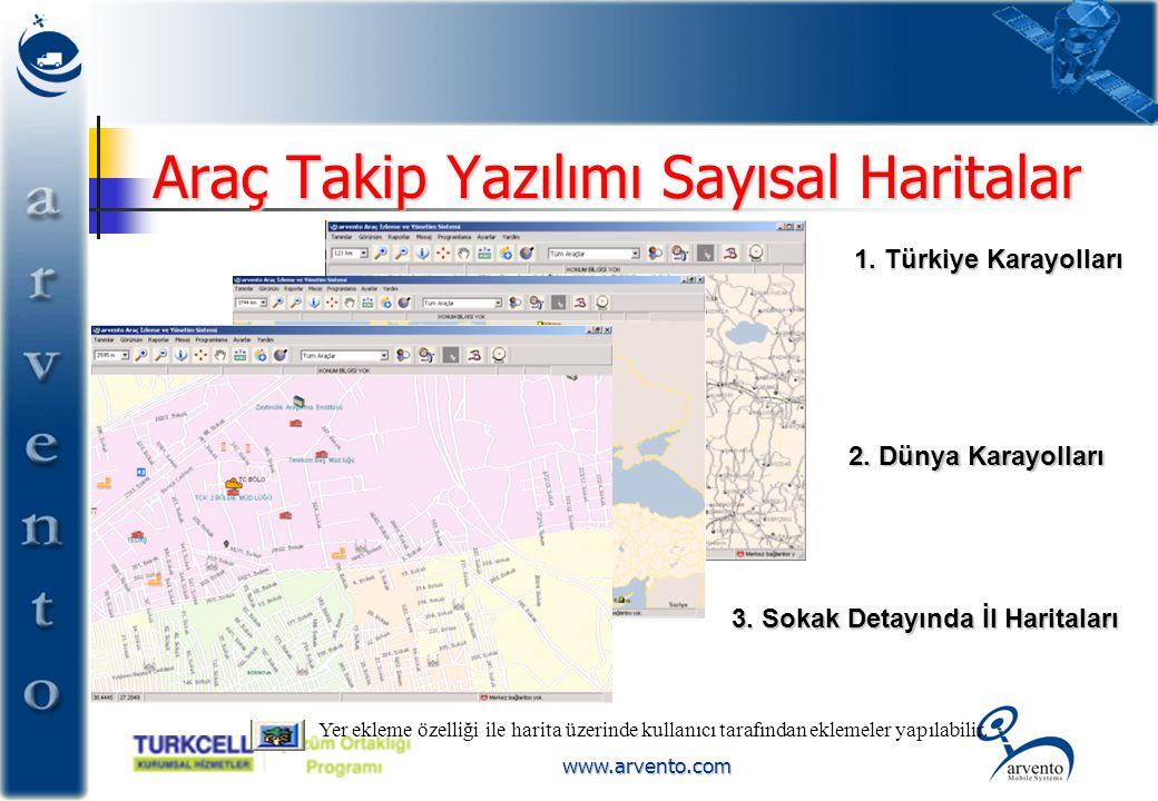 www.arvento.com Araç Takip Yazılımı Sayısal Haritalar 1. Türkiye Karayolları 2. Dünya Karayolları 2. Dünya Karayolları 3. Sokak Detayında İl Haritalar
