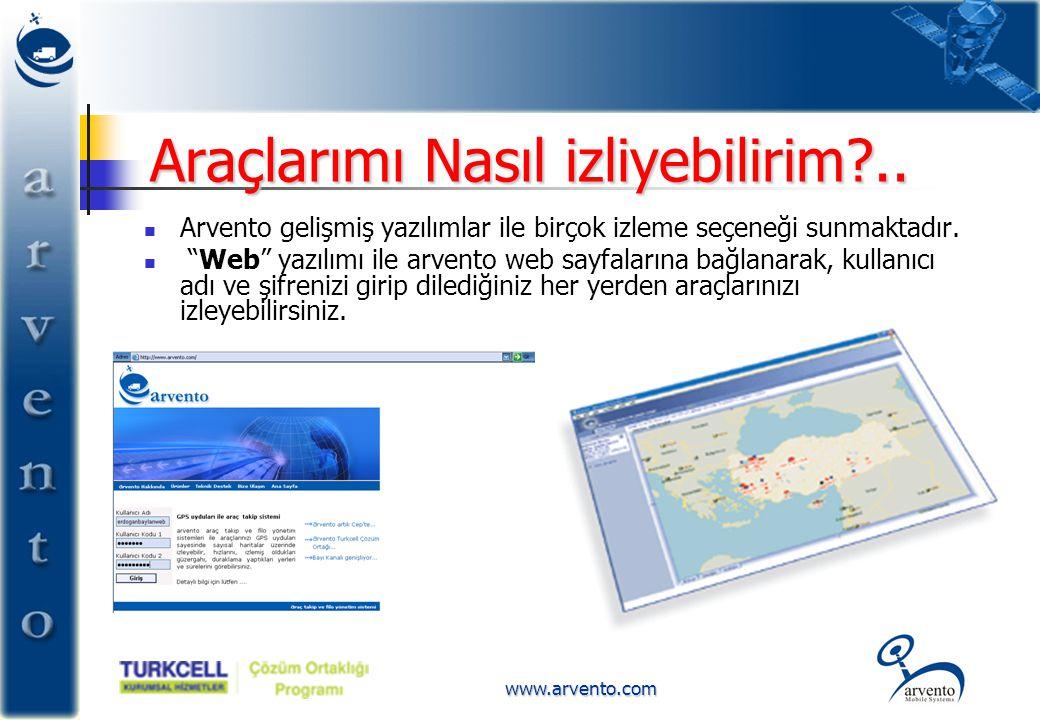 """www.arvento.com Araçlarımı Nasıl izliyebilirim?..  Arvento gelişmiş yazılımlar ile birçok izleme seçeneği sunmaktadır.  """"Web"""" yazılımı ile arvento w"""