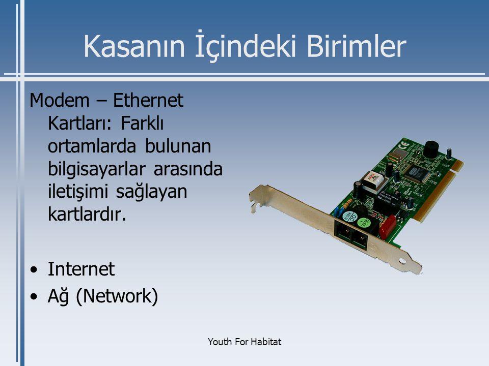 Youth For Habitat Kasanın İçindeki Birimler Modem – Ethernet Kartları: Farklı ortamlarda bulunan bilgisayarlar arasında iletişimi sağlayan kartlardır.