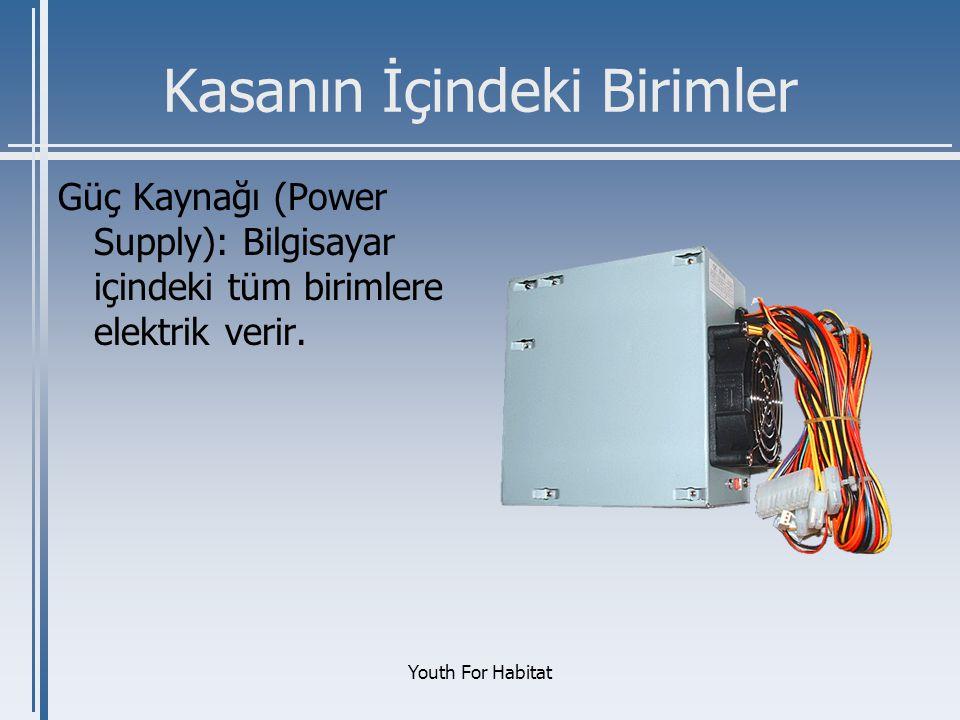 Youth For Habitat Kasanın İçindeki Birimler Güç Kaynağı (Power Supply): Bilgisayar içindeki tüm birimlere elektrik verir.