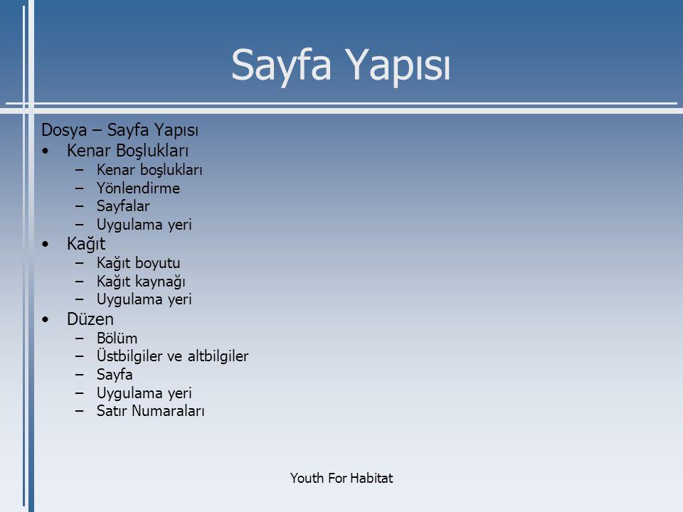Youth For Habitat Sayfa Yapısı Dosya – Sayfa Yapısı •Kenar Boşlukları –Kenar boşlukları –Yönlendirme –Sayfalar –Uygulama yeri •Kağıt –Kağıt boyutu –Ka