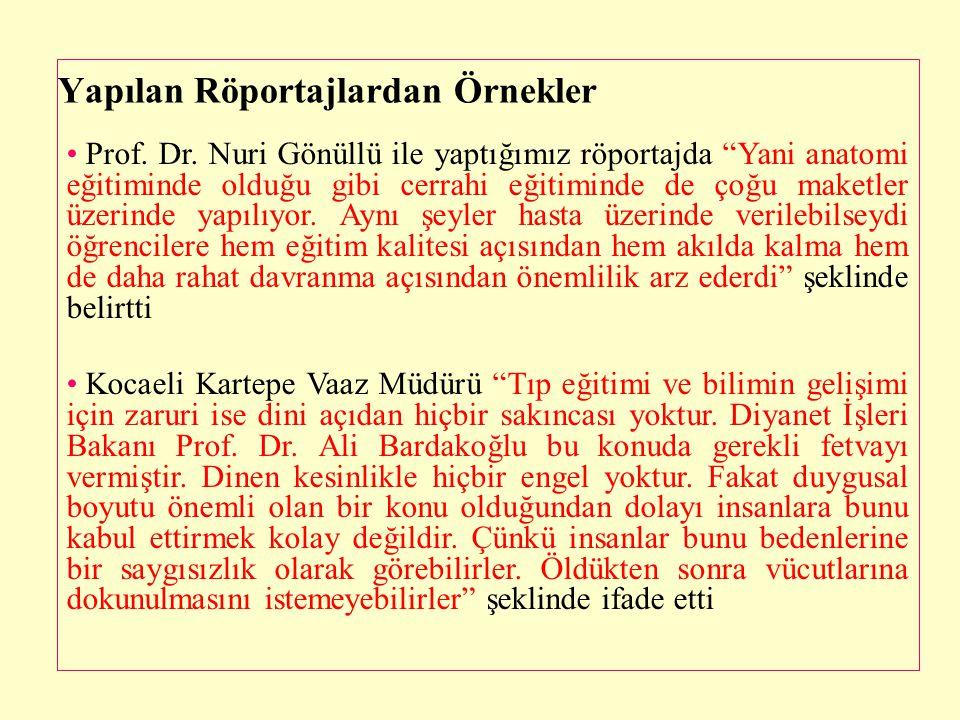 """Yapılan Röportajlardan Örnekler • Prof. Dr. Nuri Gönüllü ile yaptığımız röportajda """"Yani anatomi eğitiminde olduğu gibi cerrahi eğitiminde de çoğu mak"""
