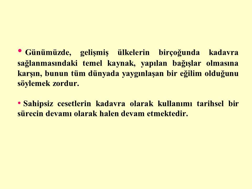 • Anket Sonucu: Türkiye'de her yıl 0-10 arası kadavra bağışı yapıldığı düşünülmektedir