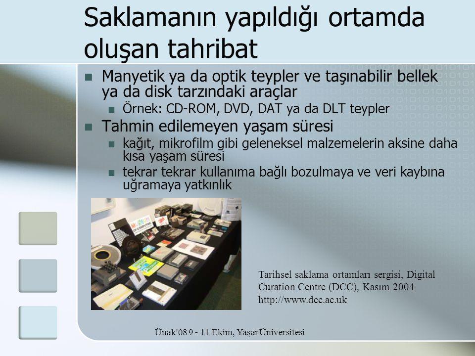 Ünak'08 9 - 11 Ekim, Yaşar Üniversitesi Saklamanın yapıldığı ortamda oluşan tahribat  Manyetik ya da optik teypler ve taşınabilir bellek ya da disk t