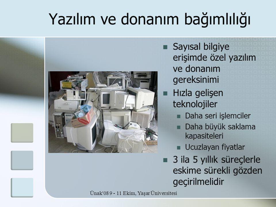 Ünak'08 9 - 11 Ekim, Yaşar Üniversitesi Yazılım ve donanım bağımlılığı  Sayısal bilgiye erişimde özel yazılım ve donanım gereksinimi  Hızla gelişen