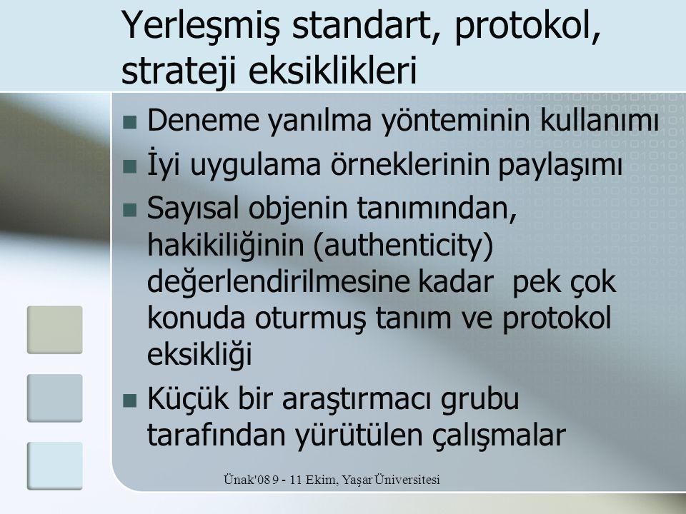 Ünak'08 9 - 11 Ekim, Yaşar Üniversitesi Yerleşmiş standart, protokol, strateji eksiklikleri  Deneme yanılma yönteminin kullanımı  İyi uygulama örnek