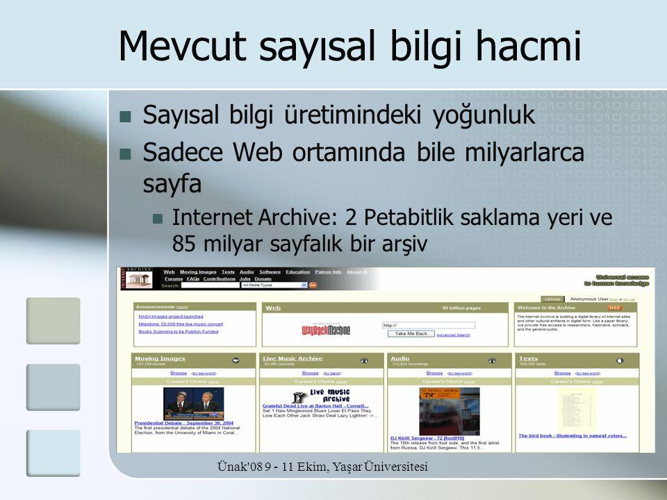 Ünak'08 9 - 11 Ekim, Yaşar Üniversitesi Mevcut sayısal bilgi hacmi  Sayısal bilgi üretimindeki yoğunluk  Sadece Web ortamında bile milyarlarca sayfa