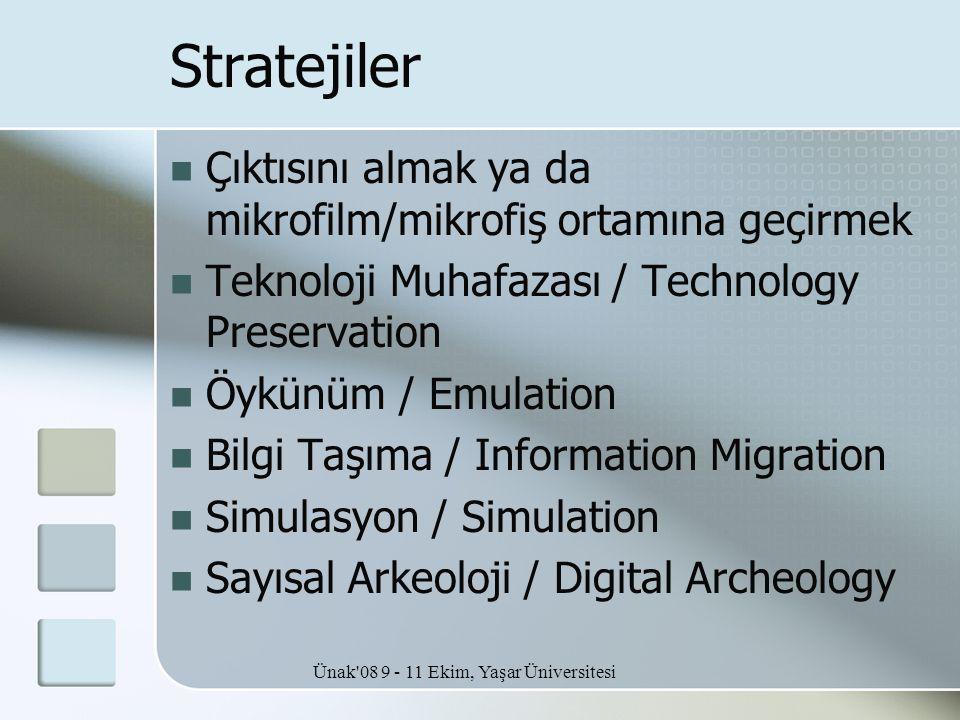 Ünak'08 9 - 11 Ekim, Yaşar Üniversitesi Stratejiler  Çıktısını almak ya da mikrofilm/mikrofiş ortamına geçirmek  Teknoloji Muhafazası / Technology P