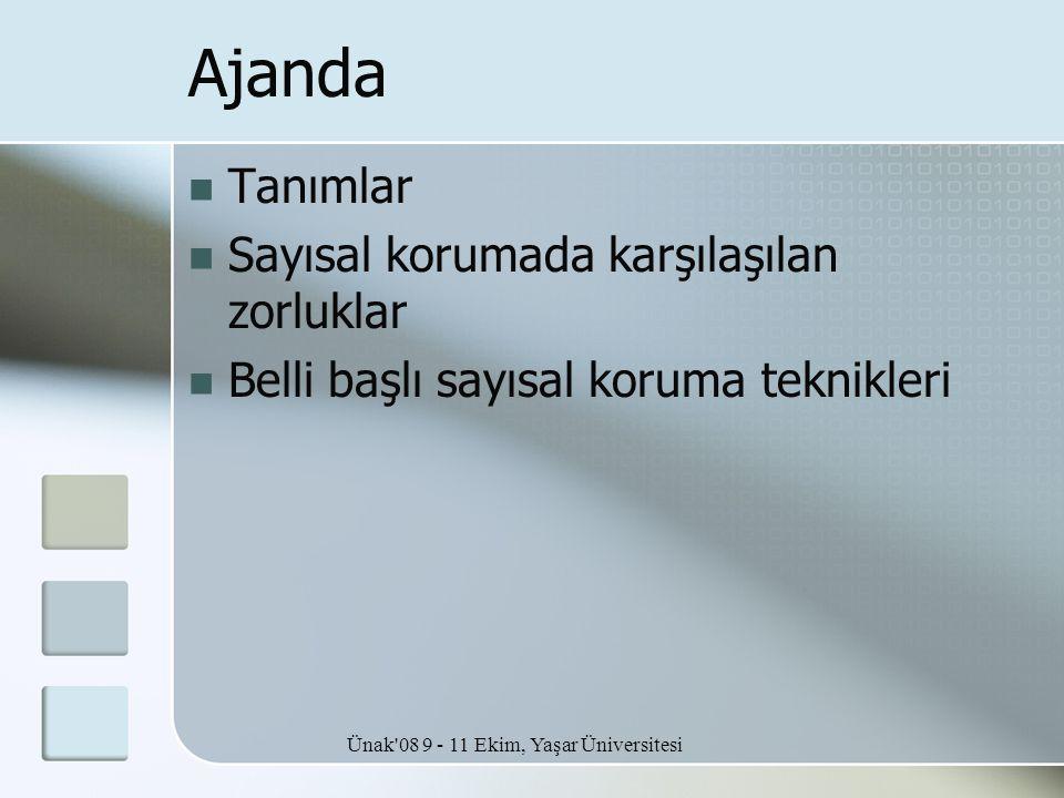 Ünak'08 9 - 11 Ekim, Yaşar Üniversitesi Ajanda  Tanımlar  Sayısal korumada karşılaşılan zorluklar  Belli başlı sayısal koruma teknikleri