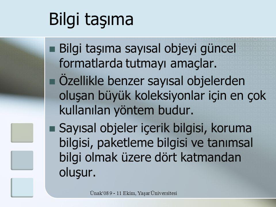 Ünak'08 9 - 11 Ekim, Yaşar Üniversitesi Bilgi taşıma  Bilgi taşıma sayısal objeyi güncel formatlarda tutmayı amaçlar.  Özellikle benzer sayısal obje