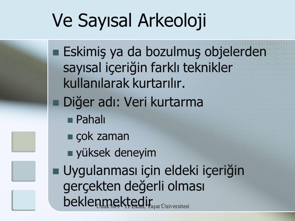 Ünak'08 9 - 11 Ekim, Yaşar Üniversitesi Ve Sayısal Arkeoloji  Eskimiş ya da bozulmuş objelerden sayısal içeriğin farklı teknikler kullanılarak kurtar