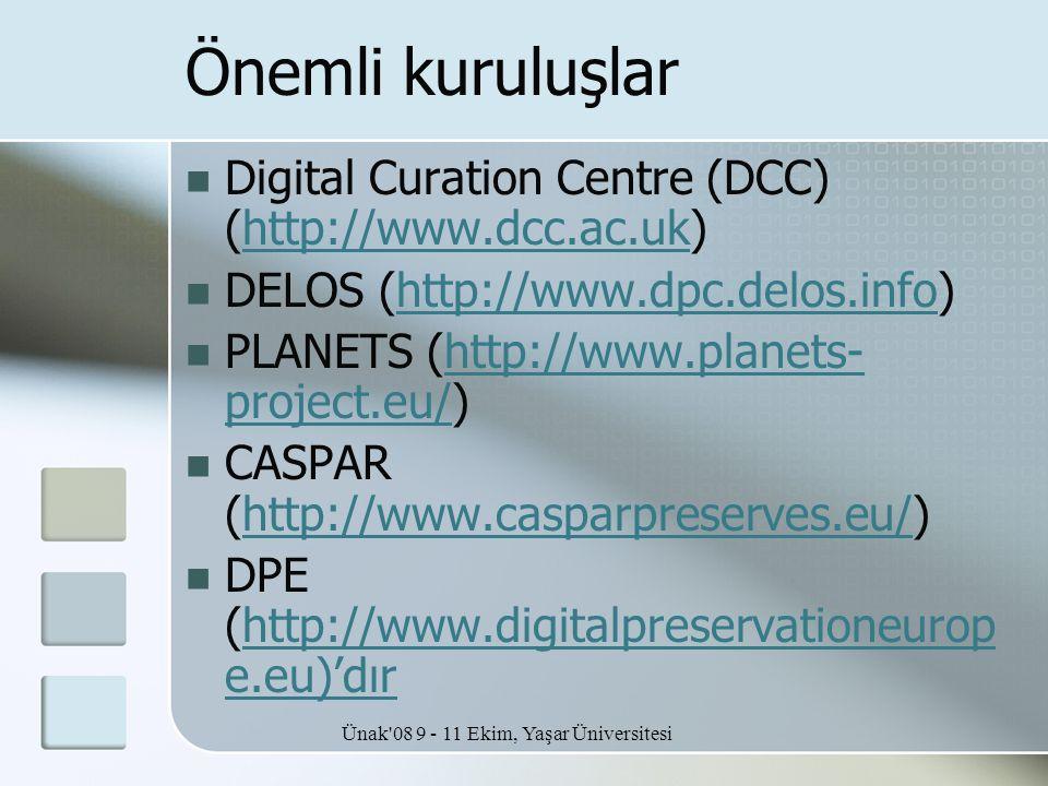 Ünak'08 9 - 11 Ekim, Yaşar Üniversitesi Önemli kuruluşlar  Digital Curation Centre (DCC) (http://www.dcc.ac.uk)http://www.dcc.ac.uk  DELOS (http://w