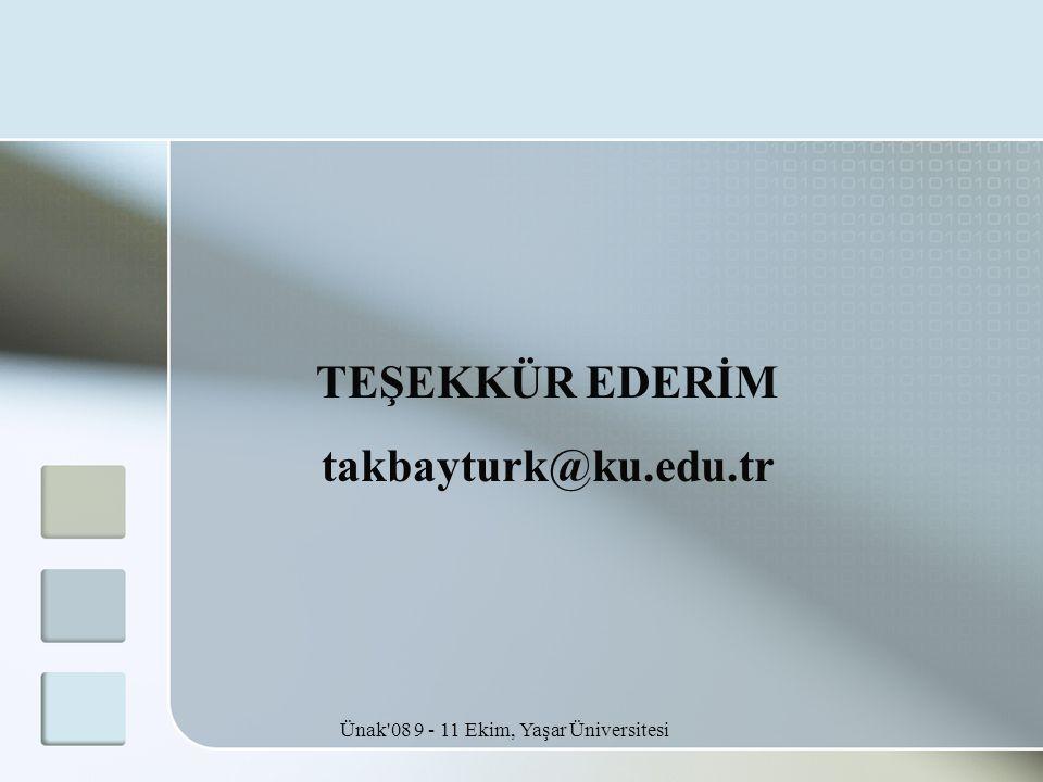 Ünak'08 9 - 11 Ekim, Yaşar Üniversitesi TEŞEKKÜR EDERİM takbayturk@ku.edu.tr