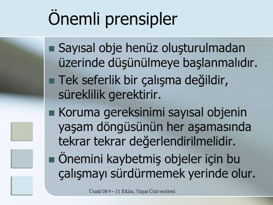 Ünak'08 9 - 11 Ekim, Yaşar Üniversitesi Önemli prensipler  Sayısal obje henüz oluşturulmadan üzerinde düşünülmeye başlanmalıdır.  Tek seferlik bir ç