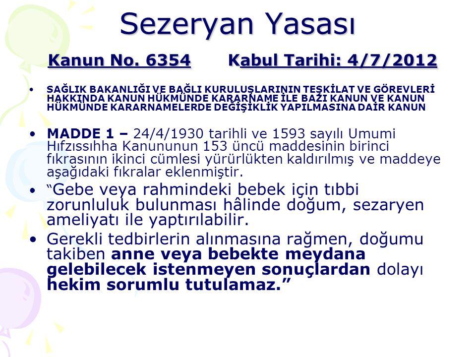 Sezeryan Yasası Kanun No. 6354Kabul Tarihi: 4/7/2012 •SAĞLIK BAKANLIĞI VE BAĞLI KURULUŞLARININ TEŞKİLAT VE GÖREVLERİ HAKKINDA KANUN HÜKMÜNDE KARARNAME