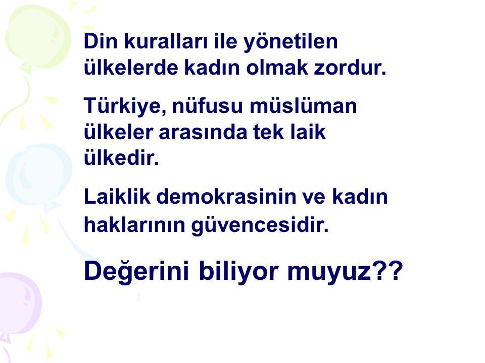 Din kuralları ile yönetilen ülkelerde kadın olmak zordur. Türkiye, nüfusu müslüman ülkeler arasında tek laik ülkedir. Laiklik demokrasinin ve kadın ha