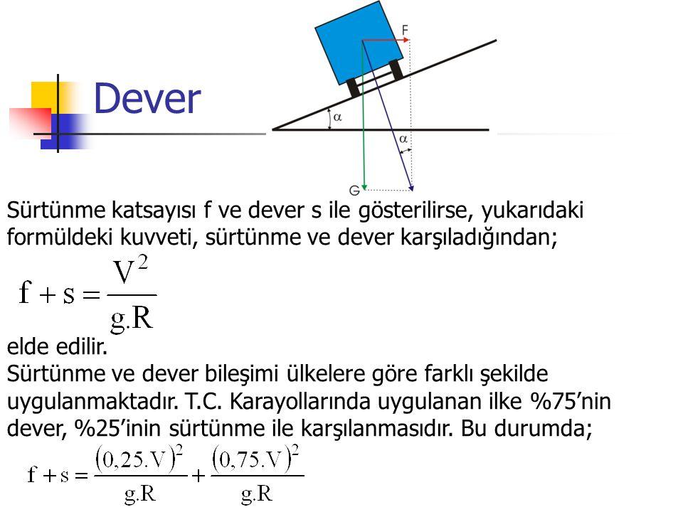 Dever Sürtünme katsayısı f ve dever s ile gösterilirse, yukarıdaki formüldeki kuvveti, sürtünme ve dever karşıladığından; elde edilir.
