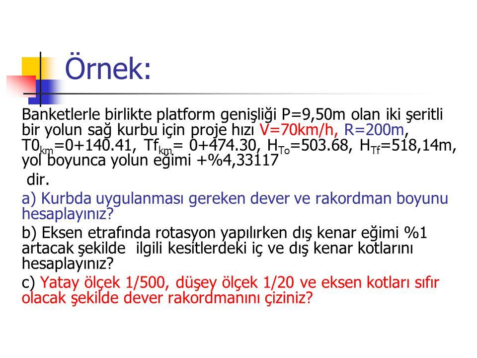 Örnek: Banketlerle birlikte platform genişliği P=9,50m olan iki şeritli bir yolun sağ kurbu için proje hızı V=70km/h, R=200m, T0 km =0+140.41, Tf km = 0+474.30, H To =503.68, H Tf =518,14m, yol boyunca yolun eğimi +%4,33117 dir.