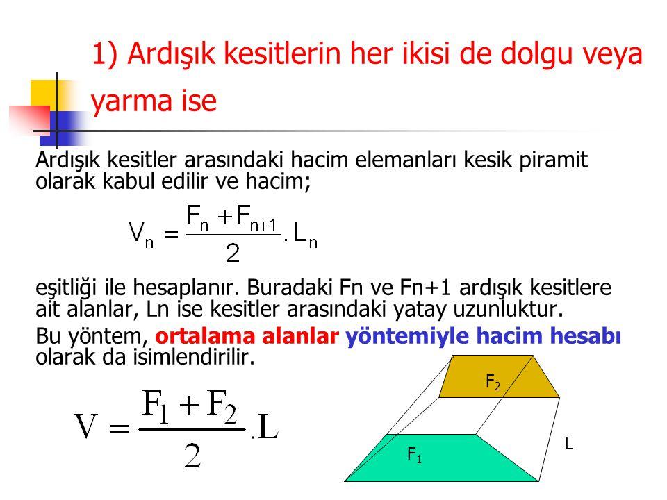 1) Ardışık kesitlerin her ikisi de dolgu veya yarma ise Ardışık kesitler arasındaki hacim elemanları kesik piramit olarak kabul edilir ve hacim; eşitliği ile hesaplanır.