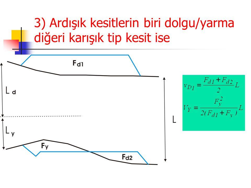 3) Ardışık kesitlerin biri dolgu/yarma diğeri karışık tip kesit ise