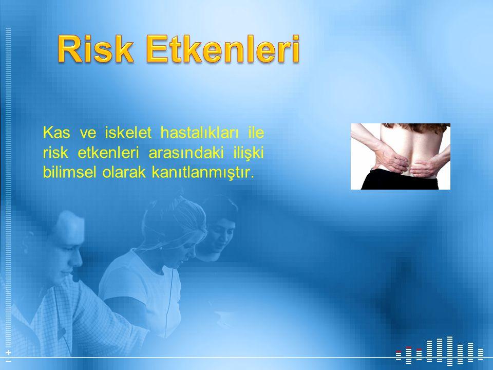 Kas ve iskelet hastalıkları ile risk etkenleri arasındaki ilişki bilimsel olarak kanıtlanmıştır.