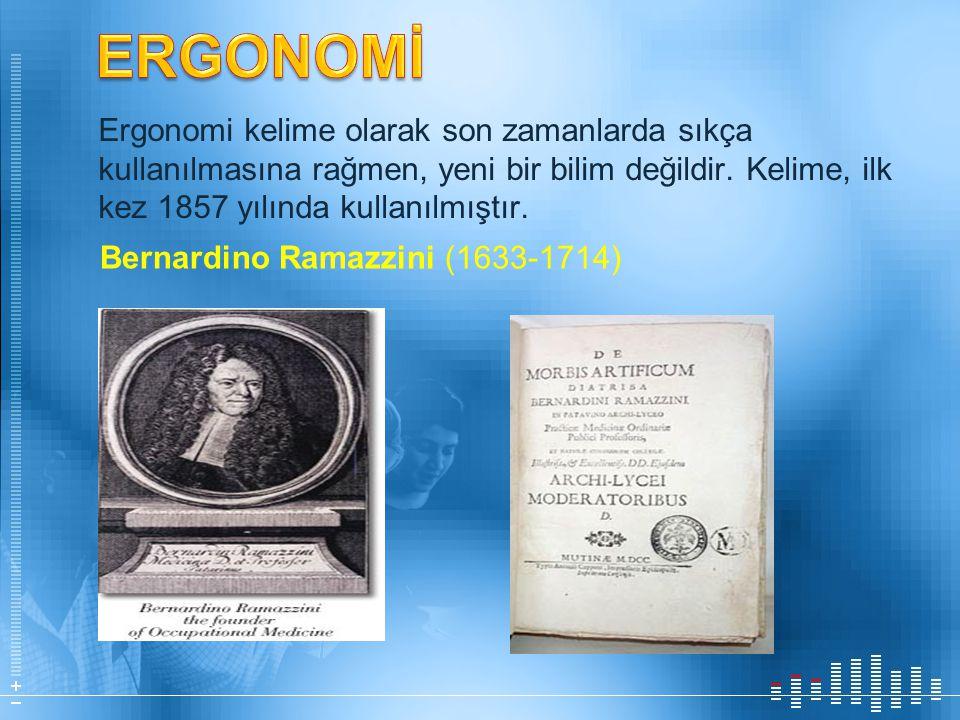 Ergonomi kelime olarak son zamanlarda sıkça kullanılmasına rağmen, yeni bir bilim değildir. Kelime, ilk kez 1857 yılında kullanılmıştır. Bernardino Ra