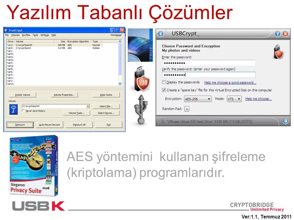 AES yöntemini kullanan şifreleme (kriptolama) programlarıdır. Yazılım Tabanlı Çözümler Ver:1.1, Temmuz 2011