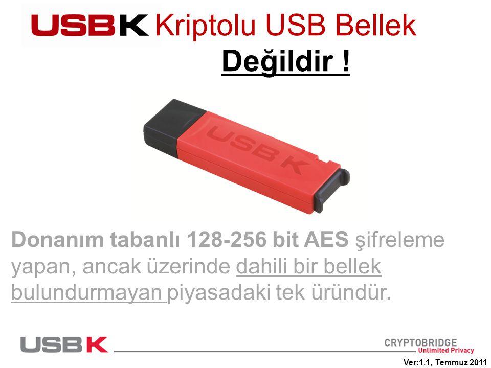 Donanım tabanlı 128-256 bit AES şifreleme yapan, ancak üzerinde dahili bir bellek bulundurmayan piyasadaki tek üründür. Kriptolu USB Bellek Değildir !