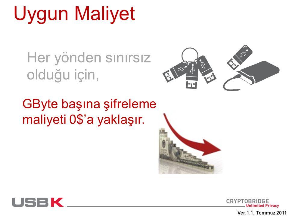 Uygun Maliyet Her yönden sınırsız olduğu için, GByte başına şifreleme maliyeti 0$'a yaklaşır. Ver:1.1, Temmuz 2011