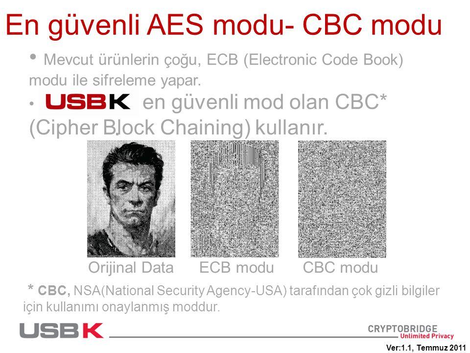En güvenli AES modu- CBC modu • Mevcut ürünlerin çoğu, ECB (Electronic Code Book) modu ile şifreleme yapar.