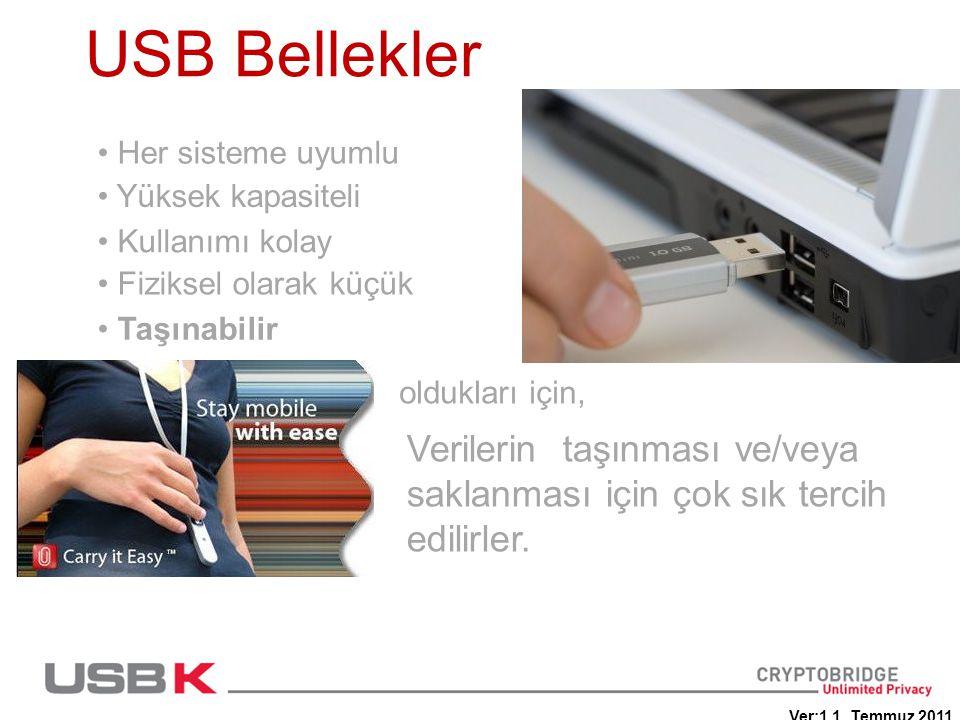 USB Bellekler • Her sisteme uyumlu Verilerin taşınması ve/veya saklanması için çok sık tercih edilirler. oldukları için, • Yüksek kapasiteli • Kullanı