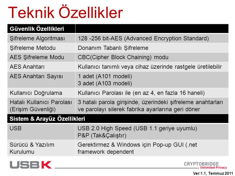 Teknik Özellikler Güvenlik Özellikleri Şifreleme Algoritması128 -256 bit-AES (Advanced Encryption Standard) Şifreleme MetoduDonanım Tabanlı Şifreleme AES Şifreleme ModuCBC(Cipher Block Chaining) modu AES AnahtarıKullanıcı tanımlı veya cihaz üzerinde rastgele üretilebilir AES Anahtarı Sayısı1 adet (A101 modeli) 3 adet (A103 modeli) Kullanıcı DoğrulamaKullanıcı Parolası ile (en az 4, en fazla 16 haneli) Hatalı Kullanıcı Parolası (Erişim Güvenliği) 3 hatalı parola girişinde, üzerindeki şifreleme anahtarları ve parolayı silerek fabrika ayarlarına geri döner Sistem & Arayüz Özellikleri USBUSB 2.0 High Speed (USB 1.1 geriye uyumlu) P&P (Tak&Çalıştır) Sürücü & Yazılım Kurulumu Gerektirmez & Windows için Pop-up GUI (.net framework dependent Ver:1.1, Temmuz 2011