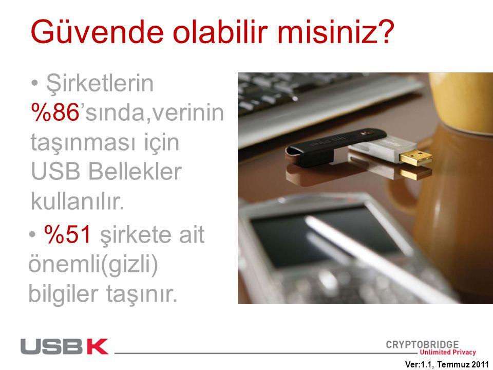 Güvende olabilir misiniz? • Şirketlerin %86'sında,verinin taşınması için USB Bellekler kullanılır. • %51 şirkete ait önemli(gizli) bilgiler taşınır. V