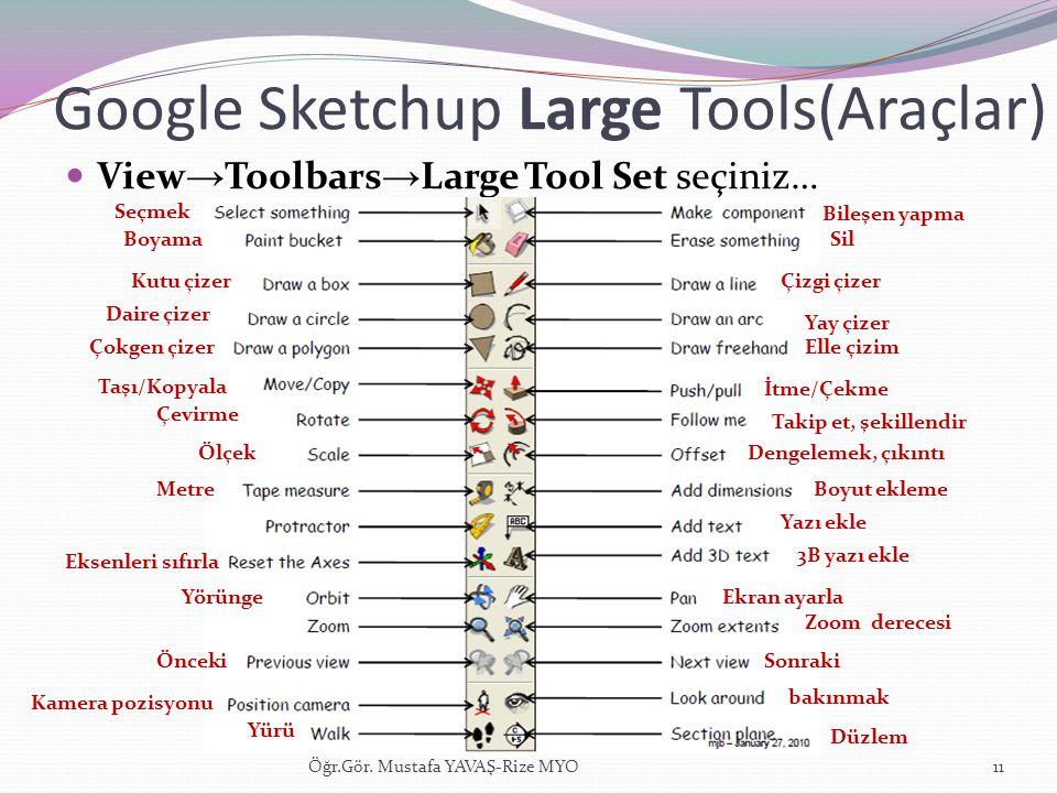 Google Sketchup Large Tools(Araçlar)  View → Toolbars → Large Tool Set seçiniz… Öğr.Gör. Mustafa YAVAŞ-Rize MYO11 Boyama Seçmek Kutu çizer Yay çizer