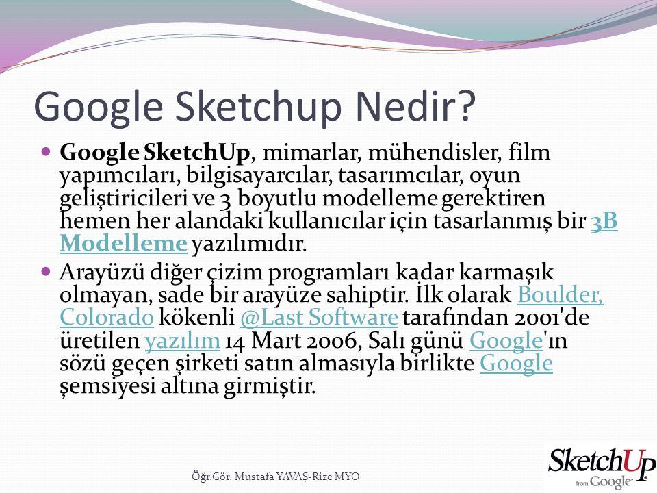 Google Sketchup  Yazılım, kullanımı kolay bir 3B görselleştirme yazılımı olarak pazarlanmaktadır.