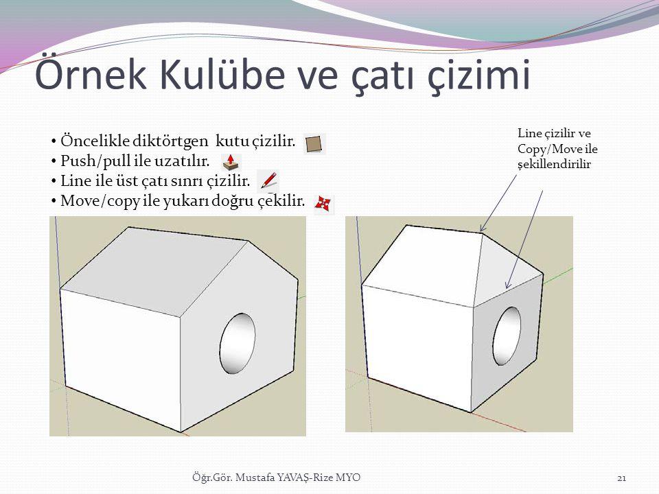 Örnek Kulübe ve çatı çizimi Öğr.Gör. Mustafa YAVAŞ-Rize MYO21 • Öncelikle diktörtgen kutu çizilir. • Push/pull ile uzatılır. • Line ile üst çatı sınrı