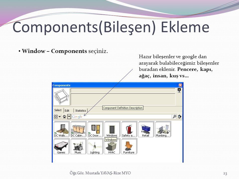 Components(Bileşen) Ekleme Öğr.Gör. Mustafa YAVAŞ-Rize MYO23 • Window – Components seçiniz. Hazır bileşenler ve google dan arayarak bulabileceğimiz bi