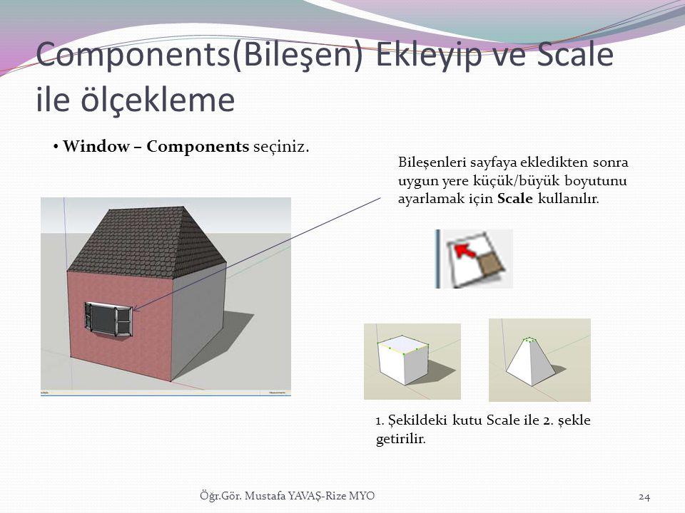Components(Bileşen) Ekleyip ve Scale ile ölçekleme Öğr.Gör. Mustafa YAVAŞ-Rize MYO24 • Window – Components seçiniz. Bileşenleri sayfaya ekledikten son