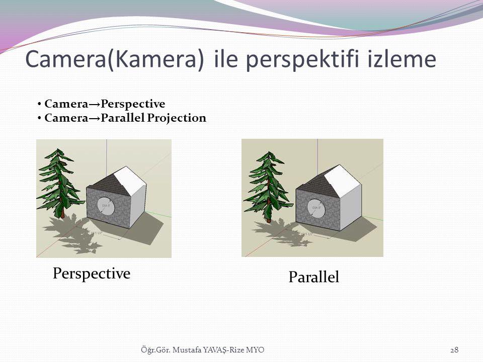 Camera(Kamera) ile perspektifi izleme Öğr.Gör. Mustafa YAVAŞ-Rize MYO28 • Camera → Perspective • Camera → Parallel Projection Perspective Parallel