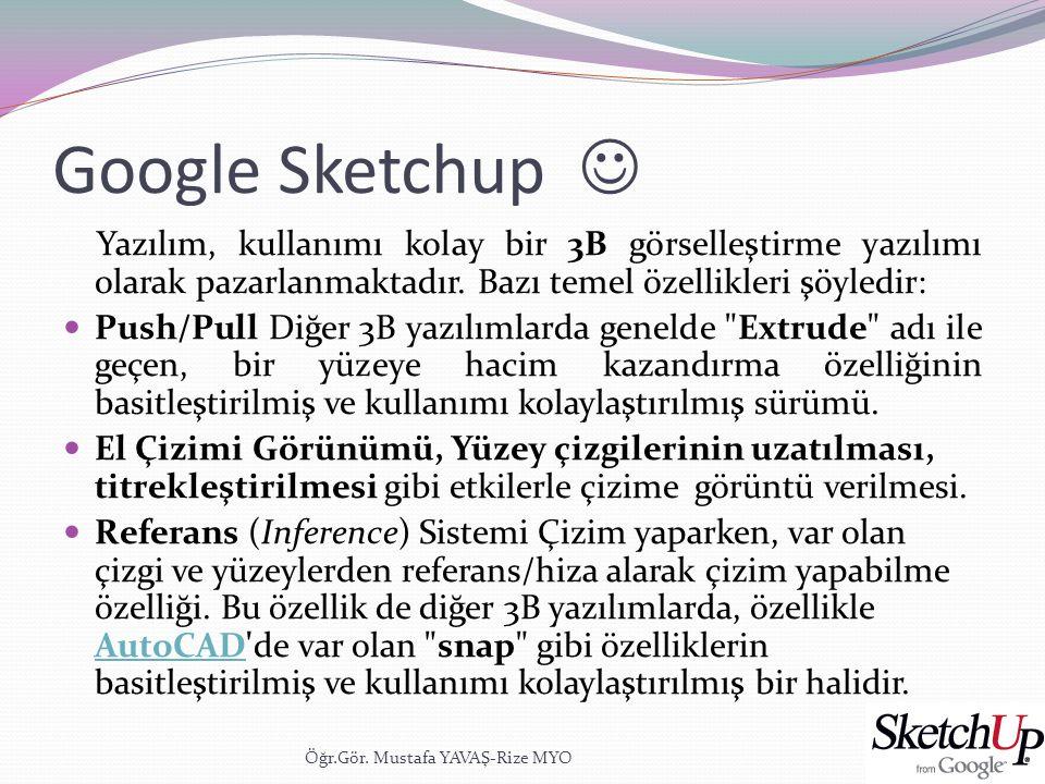 Google Sketchup  Yazılım, kullanımı kolay bir 3B görselleştirme yazılımı olarak pazarlanmaktadır. Bazı temel özellikleri şöyledir:  Push/Pull Diğer