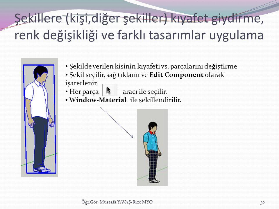 Şekillere (kişi,diğer şekiller) kıyafet giydirme, renk değişikliği ve farklı tasarımlar uygulama Öğr.Gör. Mustafa YAVAŞ-Rize MYO30 • Şekilde verilen k