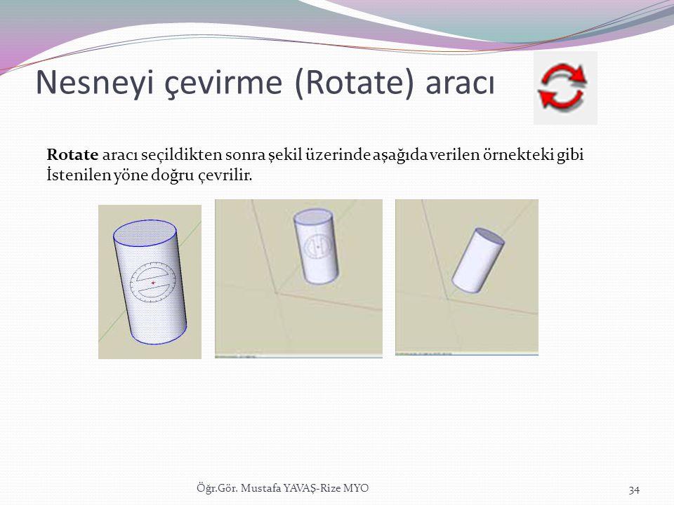 Nesneyi çevirme (Rotate) aracı Öğr.Gör. Mustafa YAVAŞ-Rize MYO34 Rotate aracı seçildikten sonra şekil üzerinde aşağıda verilen örnekteki gibi İstenile