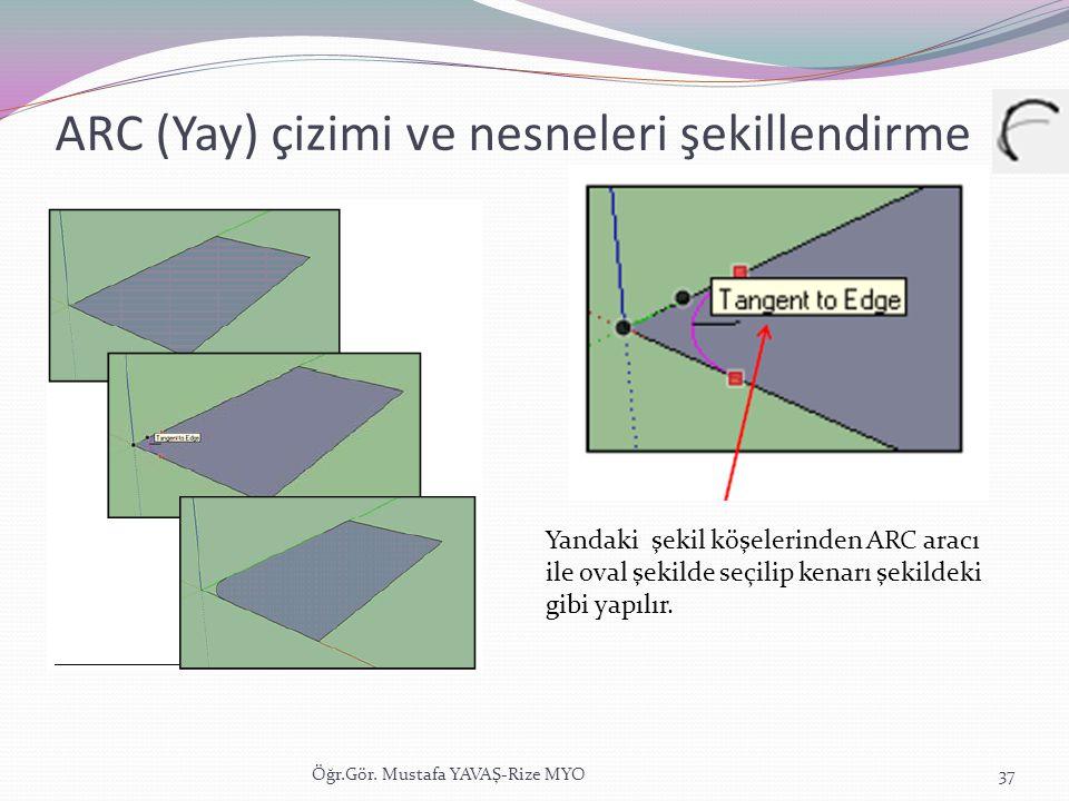 ARC (Yay) çizimi ve nesneleri şekillendirme Öğr.Gör. Mustafa YAVAŞ-Rize MYO37 Yandaki şekil köşelerinden ARC aracı ile oval şekilde seçilip kenarı şek
