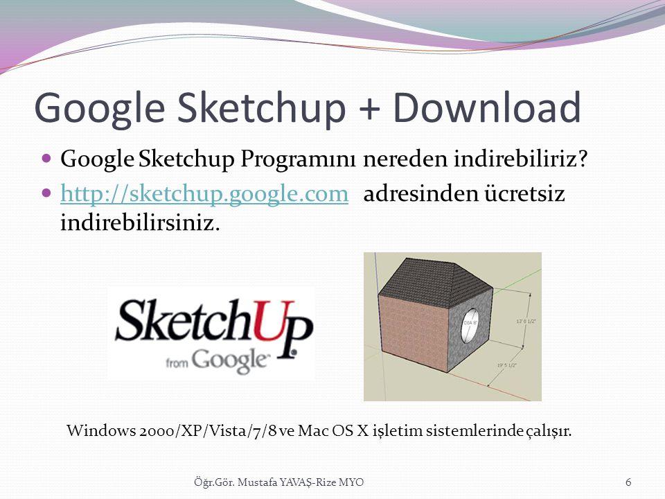 Google Sketchup + Download  Google Sketchup Programını nereden indirebiliriz?  http://sketchup.google.com adresinden ücretsiz indirebilirsiniz. http
