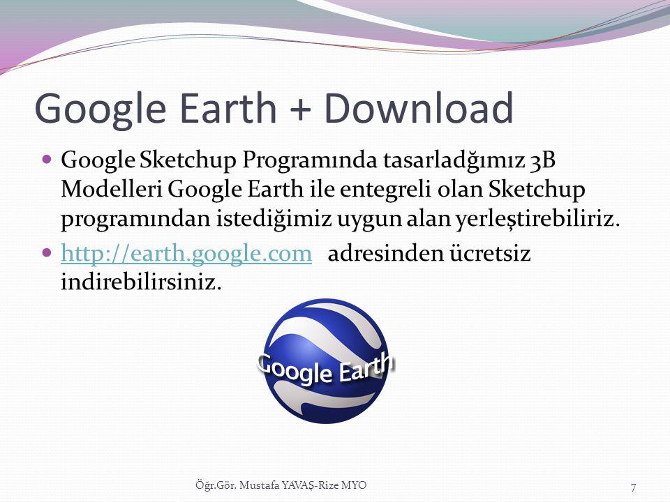 Google Earth + Download  Google Sketchup Programında tasarladğımız 3B Modelleri Google Earth ile entegreli olan Sketchup programından istediğimiz uyg