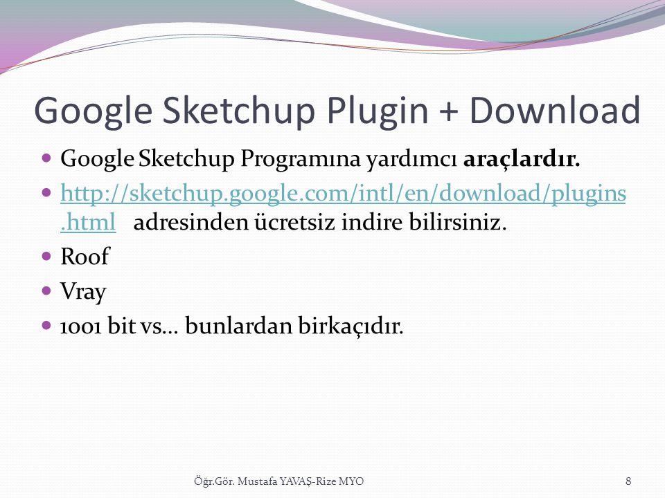 Google Sketchup Plugin + Download  Google Sketchup Programına yardımcı araçlardır.  http://sketchup.google.com/intl/en/download/plugins.html adresin