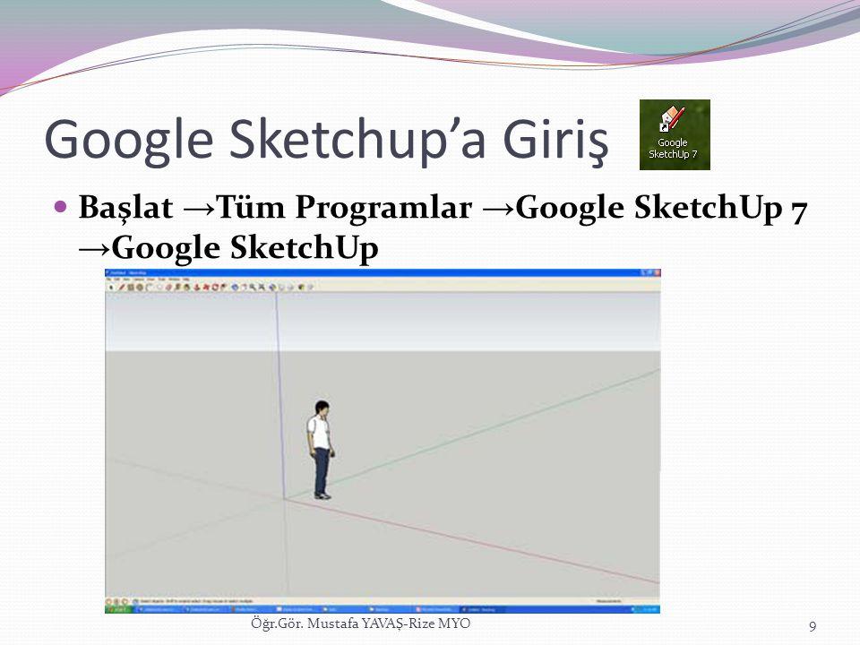 Google Sketchup'a Giriş Öğr.Gör. Mustafa YAVAŞ-Rize MYO9  Başlat → Tüm Programlar → Google SketchUp 7 → Google SketchUp