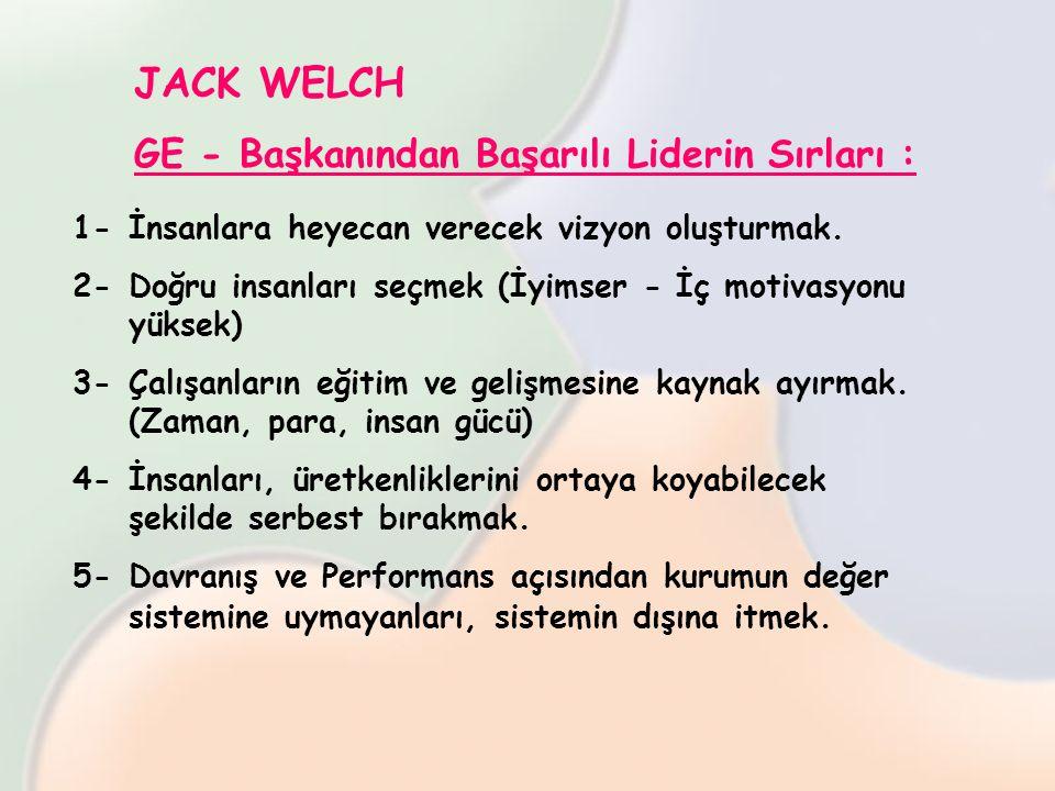 JACK WELCH GE - Başkanından Başarılı Liderin Sırları : 1-İnsanlara heyecan verecek vizyon oluşturmak. 2-Doğru insanları seçmek (İyimser - İç motivasyo