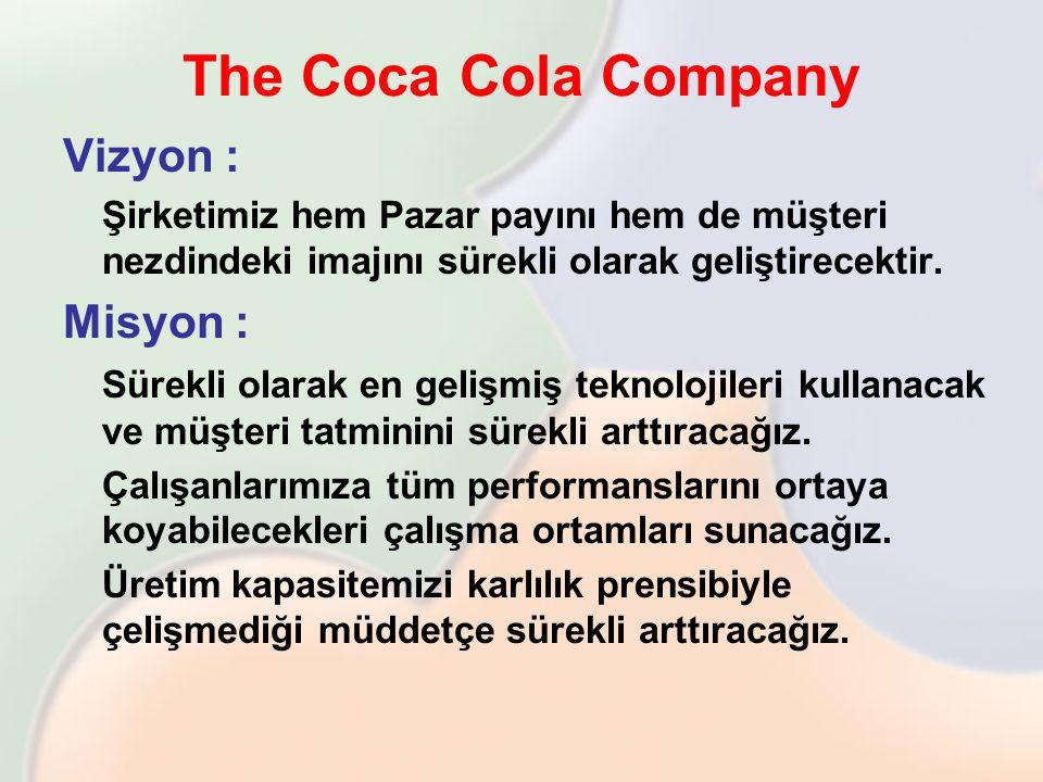 The Coca Cola Company Vizyon : Şirketimiz hem Pazar payını hem de müşteri nezdindeki imajını sürekli olarak geliştirecektir. Misyon : Sürekli olarak e